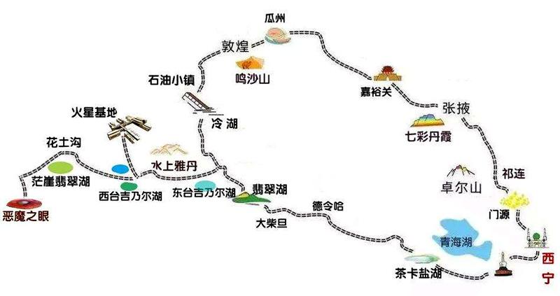 甘青大环线加茫崖市线路图