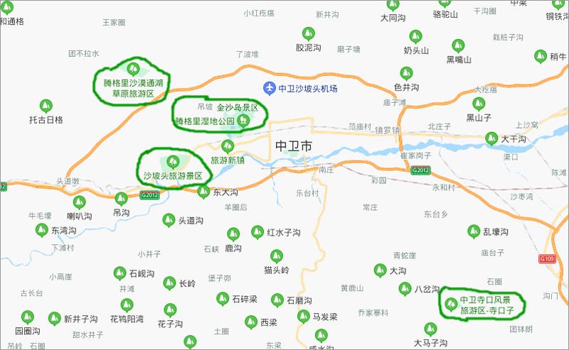 中卫市旅游地图